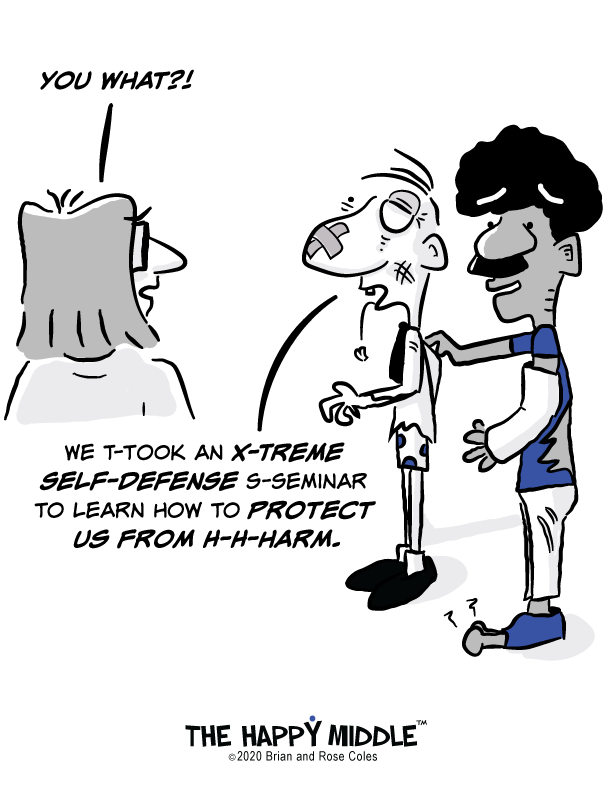 The Happy Middle Self Defense Cartoon
